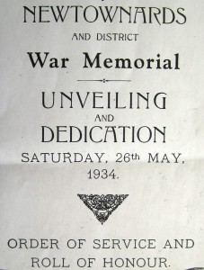 Newtownards War Memorial Unveiling