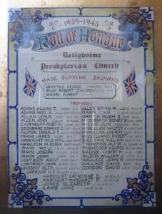 Ballyholme Presbyterian SWW RoH
