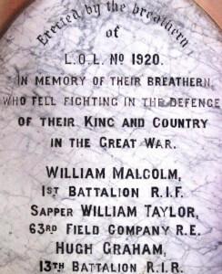 Ballyrobert LOL 1920 died