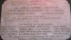 Moneyreagh Non Subscribing Presbyterian Church War Memorial per CM 001