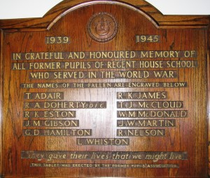 Regent House School SWW plaque