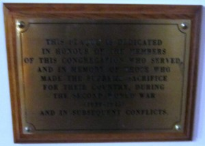 Newtownards Second Presbyterian SWW plaque